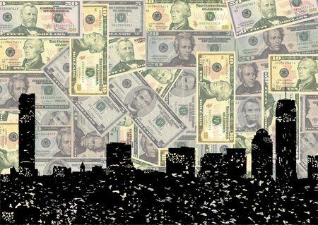boston skyline: Grunge Boston skyline with American dollars illustration
