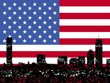 boston skyline: Grunge Boston skyline with American flag illustration Stock Photo