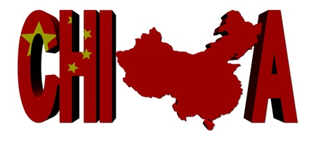 China map text with flag illustration illustration