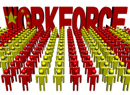 multitude: people with workforce Chinese flag text illustration