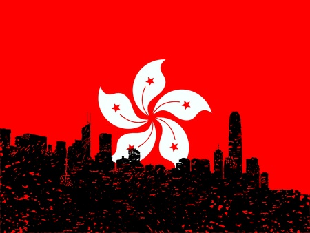 hong kong skyline: Grunge Hong Kong skyline with flag illustration