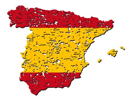 Grunge Spain map flag with shadow illustration illustration