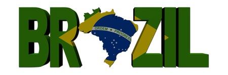 brazil flag: Brazil map text with flag illustration