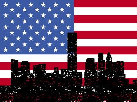 houston flag: Grunge Houston skyline with American flag illustration