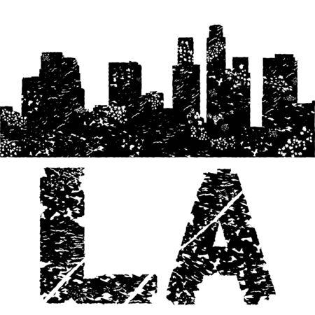 Grunge Los Angeles skyline with text illustration illustration