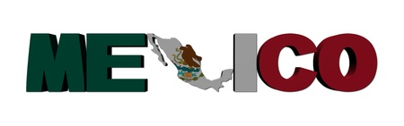 Mexico map text with flag illustration illustration