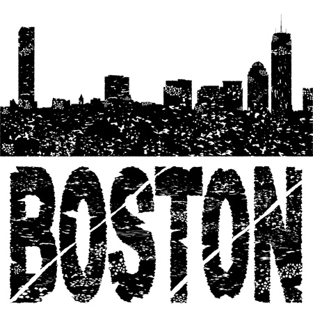 boston skyline: Grunge Boston skyline with text illustration