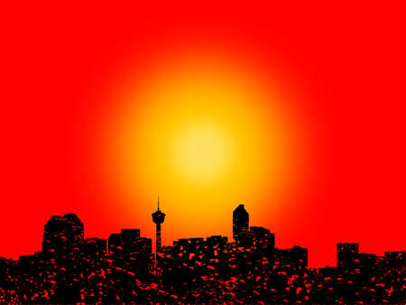 calgary: Grunge Calgary skyline with abstract sunset illustration Stock Photo