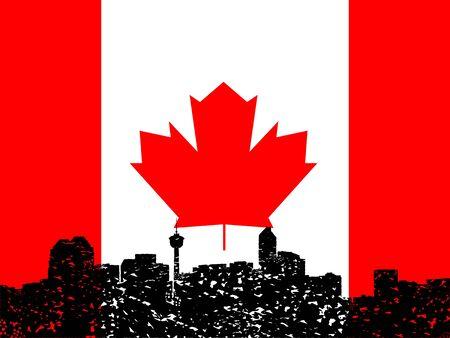 calgary: Grunge Calgary skyline with Canadian flag illustration