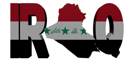 iraq:  Iraq map text with flag illustration