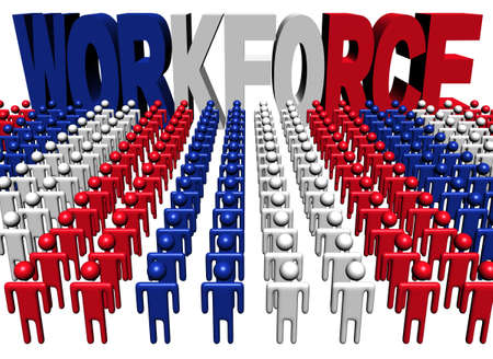 multitude: lines of people with workforce French flag text illustration