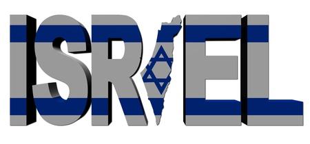 Israël kaart tekst met vlag illustratie