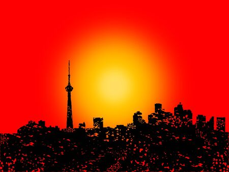 toronto: Grunge Toronto skyline with abstract sunset illustration Stock Photo