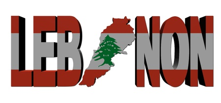 Lebanon map text with flag illustration illustration