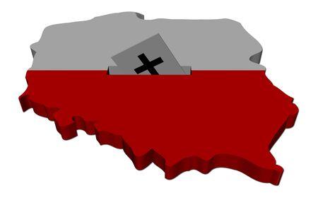 Poland election map with ballot paper illustration illustration