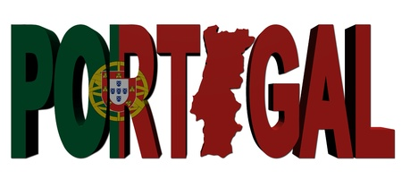 Portugal map text with flag illustration illustration