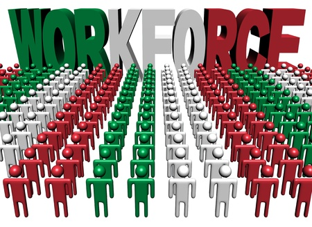 people with workforce Italy flag text illustration illustration