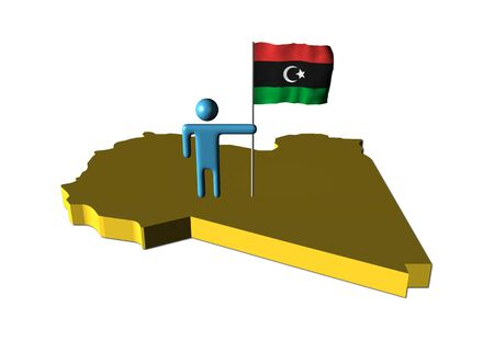 libyan: abstract person with fluttering Libyan flag on map illustration Stock Photo