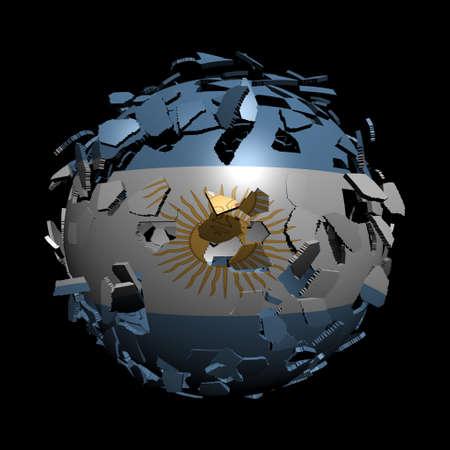 unify: Argentina flag sphere breaking apart illustration