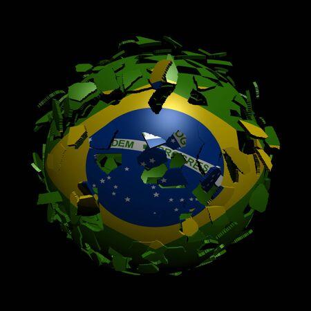 unify: Brazil flag sphere breaking apart illustration
