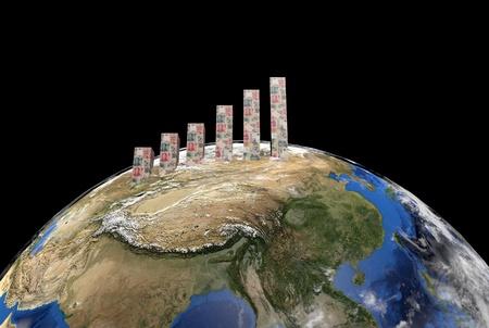 yuan: Yuan graph on globe showing Asia illustration