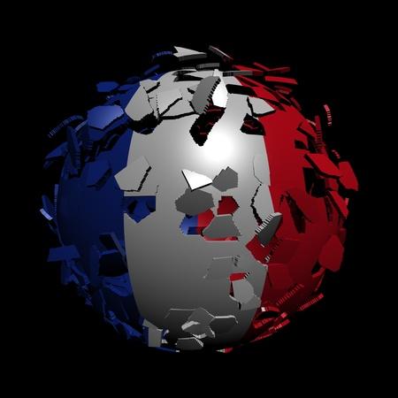 unify: French flag sphere breaking apart illustration