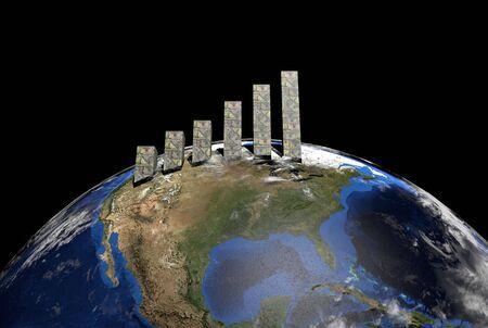 dollars graph on globe showing North America illustration illustration