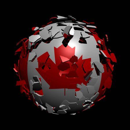 unify: Canadian flag sphere breaking apart illustration