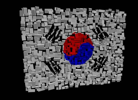South Korean flag on blocks illustration Stock Illustration - 11031874
