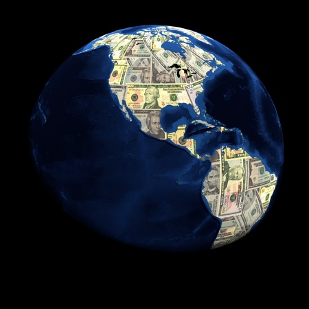 Global currency dollars replacing land illustration