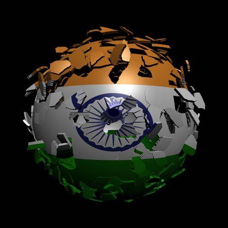 unify: Indian flag sphere breaking apart illustration