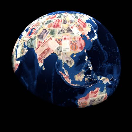 replacing: Global currency Yuan replacing land illustration Stock Photo