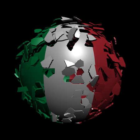 unify: Italian flag sphere breaking apart illustration