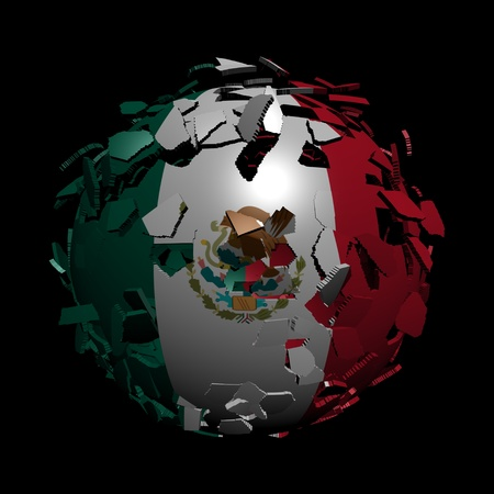 converge: Mexican flag sphere breaking apart illustration