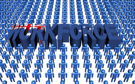 multitude: Australia workforce with flag text illustration