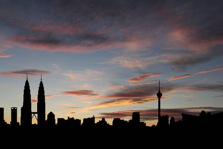 Kuala Lumpur skyline at sunset with beautiful sky illustration illustration