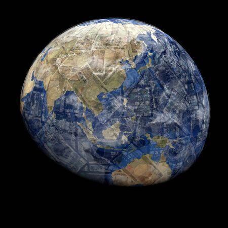 Earth blended into Yen sphere illustration Stok Fotoğraf