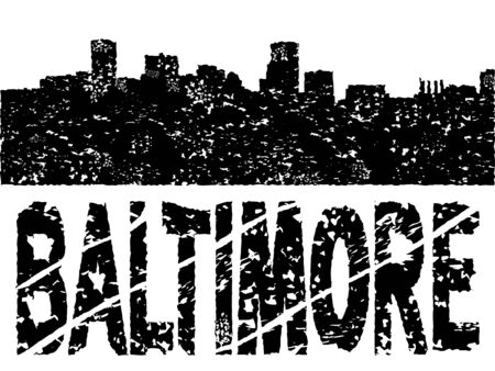 Grunge Baltimore skyline with text illustration illustration