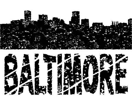 baltimore: Grunge Baltimore skyline with text illustration