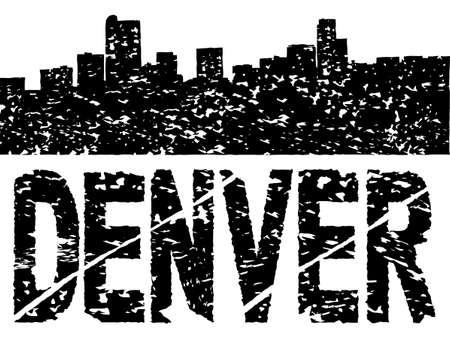 denver: Grunge Denver skyline with text illustration Stock Photo