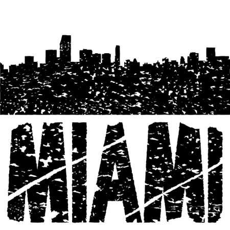 Grunge Miami skyline with text illustration illustration