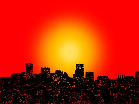 Grunge Baltimore skyline with abstract sunset illustration illustration