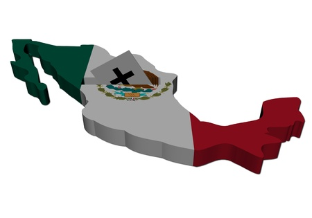 Mexico election map with ballot paper illustration  illustration