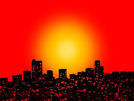 denver skyline at sunset: Grunge Denver skyline with abstract sunset illustration Stock Photo