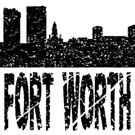 Grunge Fort Worth skyline with text illustration illustration