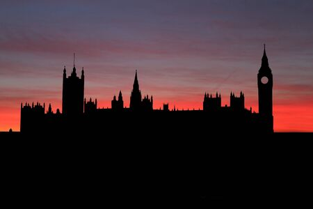 houses of parliament london: Houses of Parliament London at sunset illustration Stock Photo