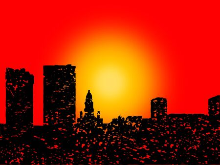 Grunge Fort Worth skyline with abstract sunset illustration