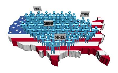 workers on strike on USA map flag illustration illustration