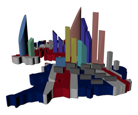uk map: abstract skyscrapers on UK map flag illustration