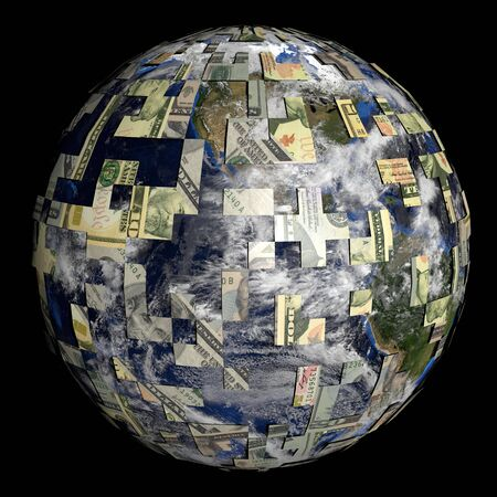 sphere of influence: earth partially covered by American dollars sphere illustration